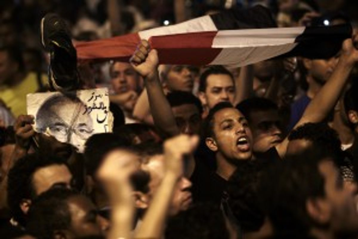 The revolutionary youth of Egypt return to Tahrir to protest the outcome of the Egyptian presidential election, Cairo, Egypt.            (AP Photo/Fredrik Persson)