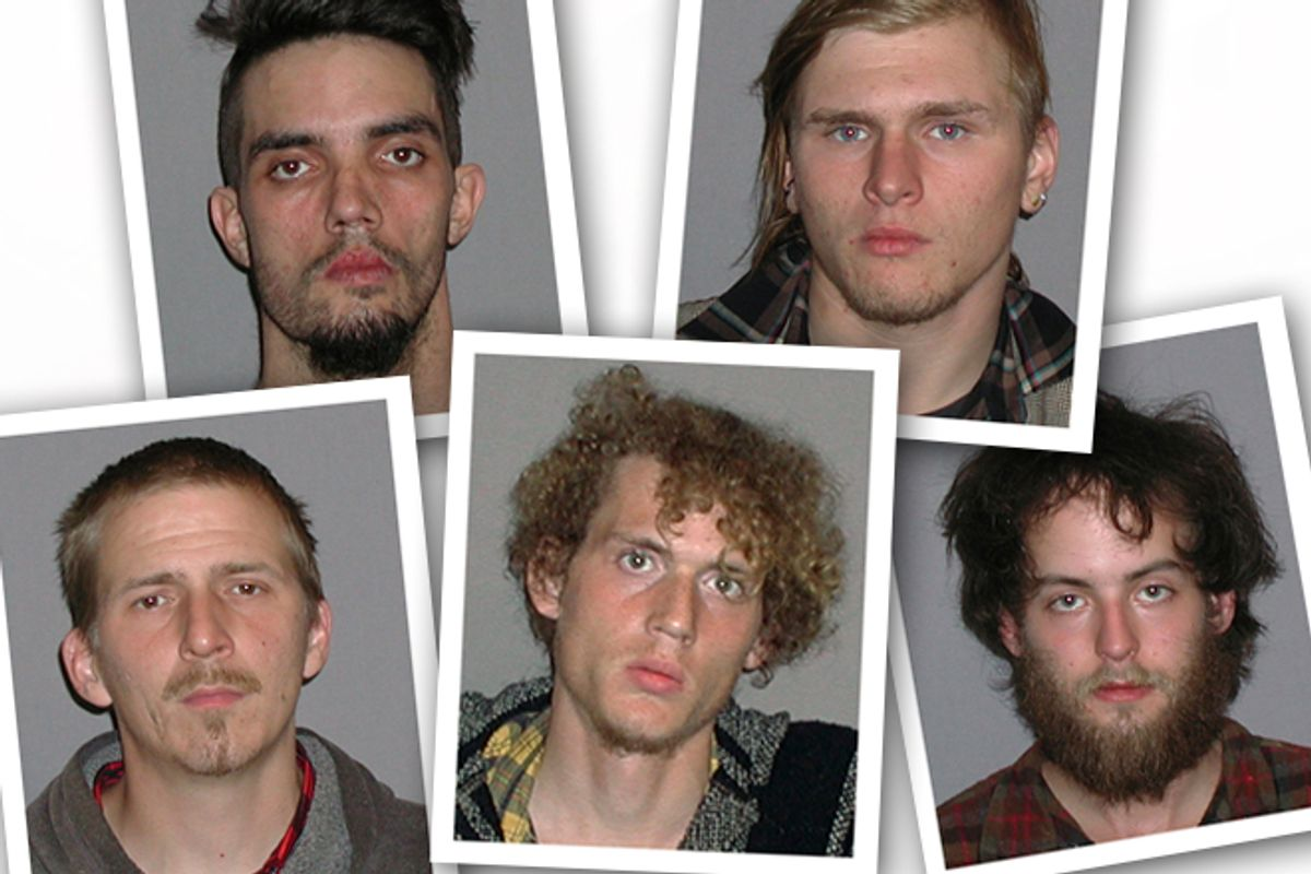 The five men arrested on April 30 for plotting to blow up a bridge near Cleveland, Ohio.      (AP/FBI)