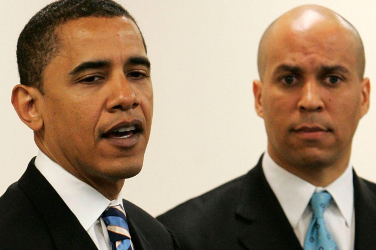 President Obama and Cory Booker          (AP/Matt Derer)