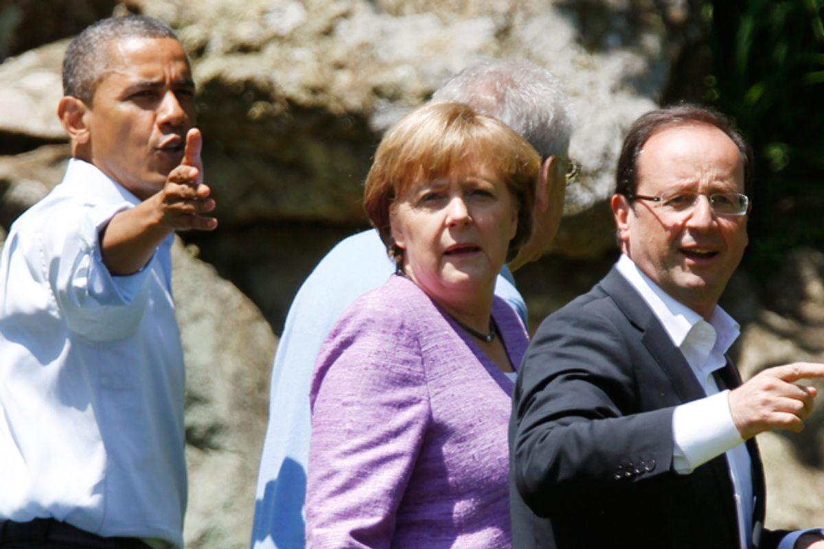 President Obama, Angela Merkel and Francois Hollande