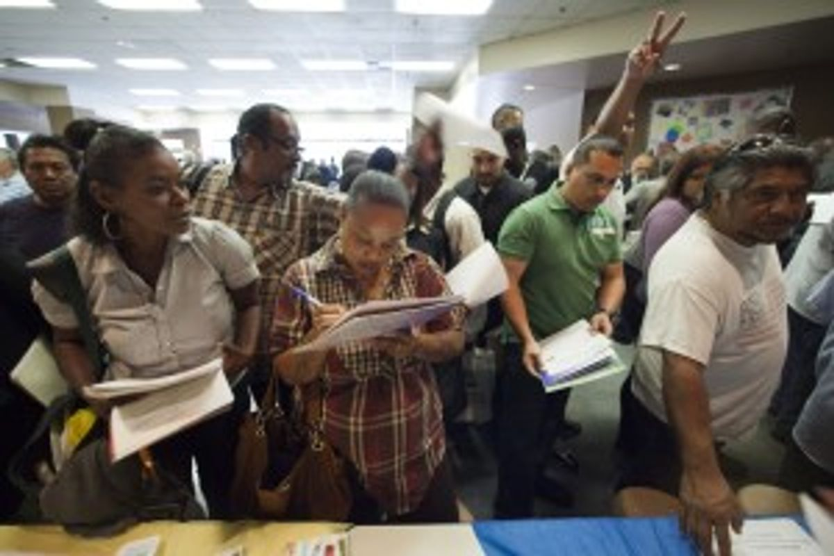 Job fair applicants in Los Angeles, Calif., May 31, 2012