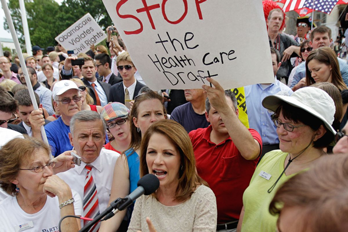 Michele Bachmann speaks outside the Supreme Court after the court's ruling on President Obama's health care law was announced on Thursday.       (AP/David Goldman)