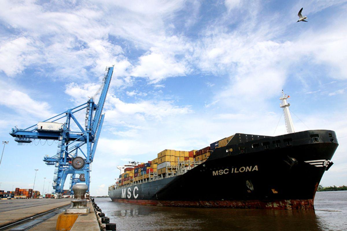 A cargo ship docks in New Orleans.       (Reuters/Sean Gardner)