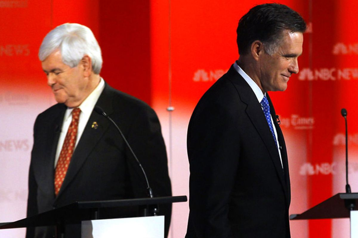 Newt Gingrich and Mitt Romney       (Reuters/Brian Snyder)