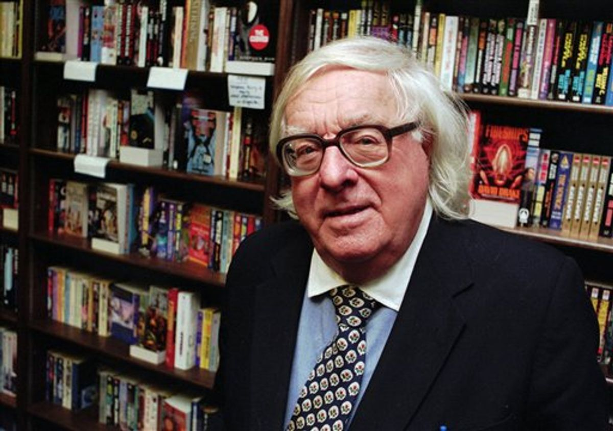 """FILE - This Jan. 29, 1997 file photo shows author Ray Bradbury  at a signing for his book """"Quicker Than The Eye"""" in Cupertino, Calif.  Bradbury, who wrote everything from science-fiction and mystery to humor, died Tuesday, June 5, 2012 in Southern California. He was 91. (AP Photo/Steve Castillo, file)   (AP)"""