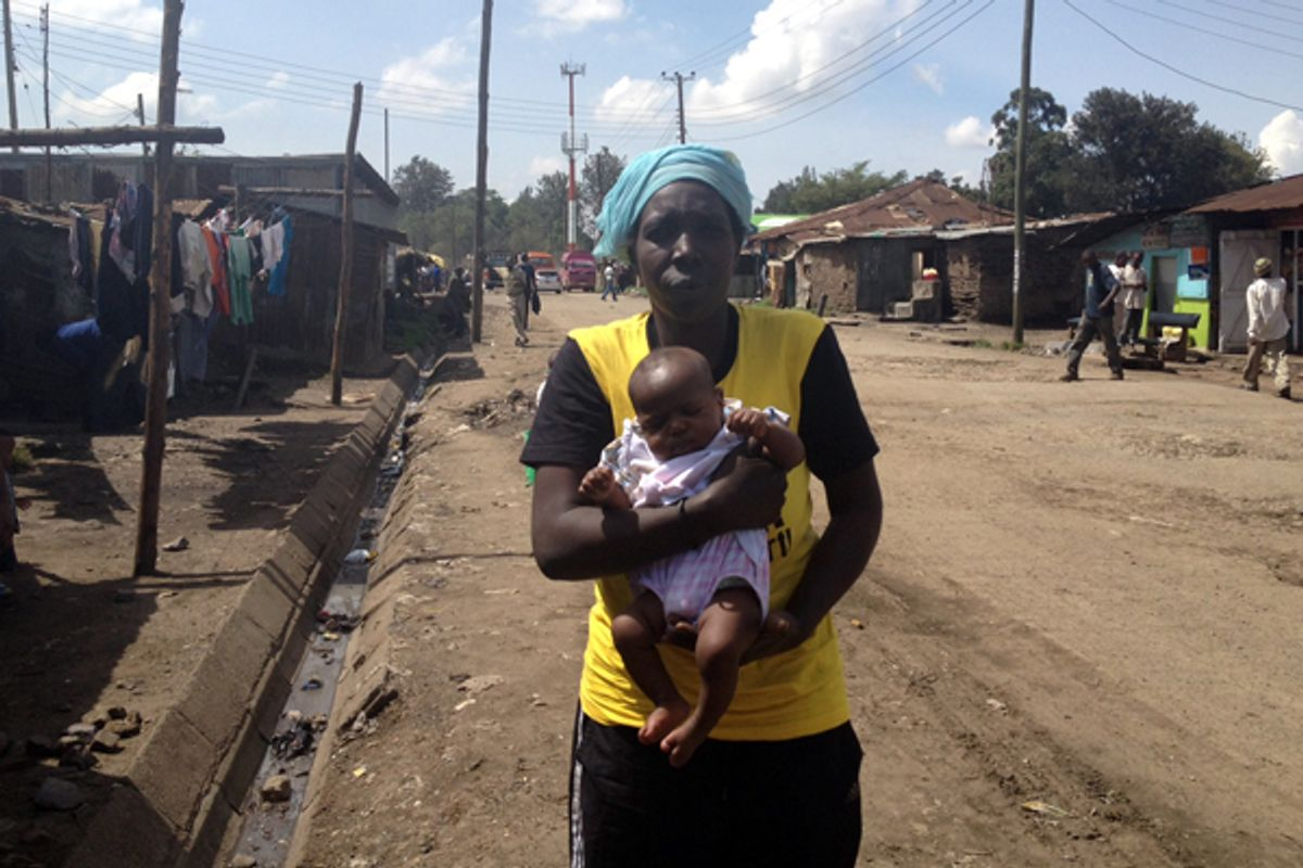 Maimouna, a Nairobi woman who says she was imprisoned in Pumwani hospital after being unable to pay for maternity care, outside her home.