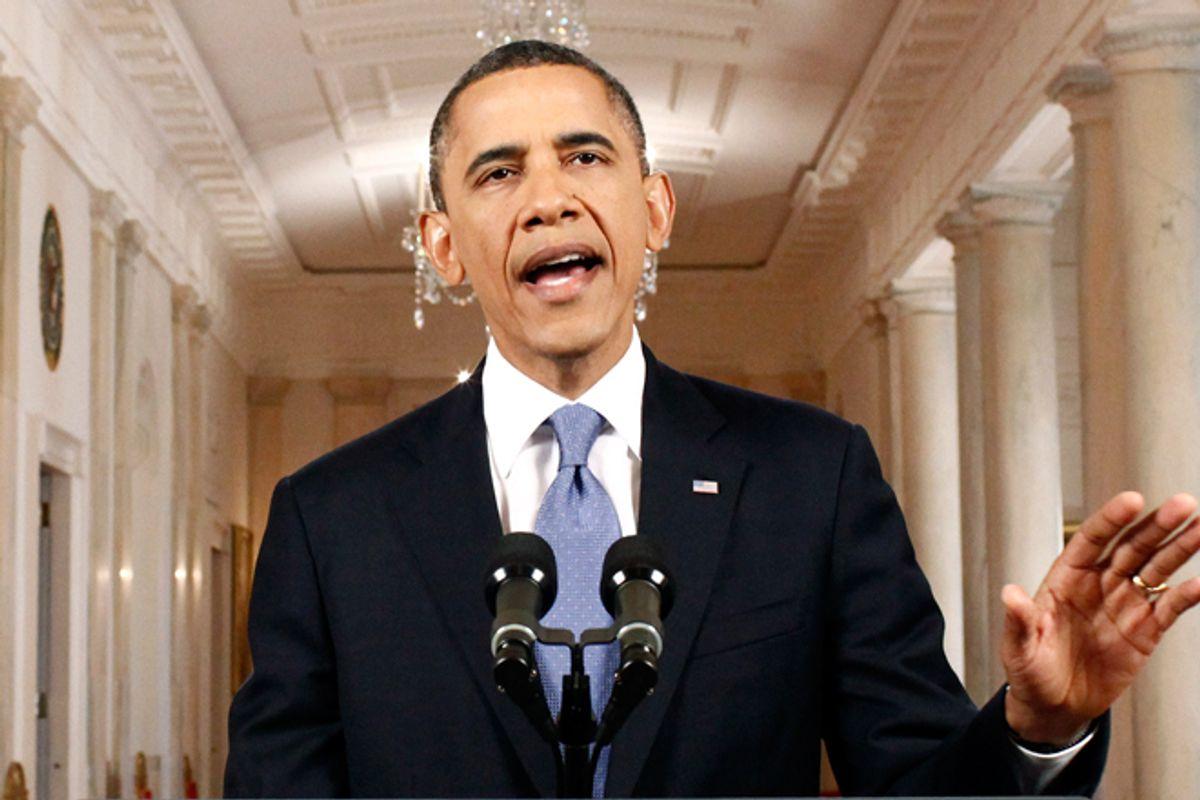 President Obama speaks at the White House after the Supreme Court ruled on his health care legislation.      (AP/Luke Sharrett)