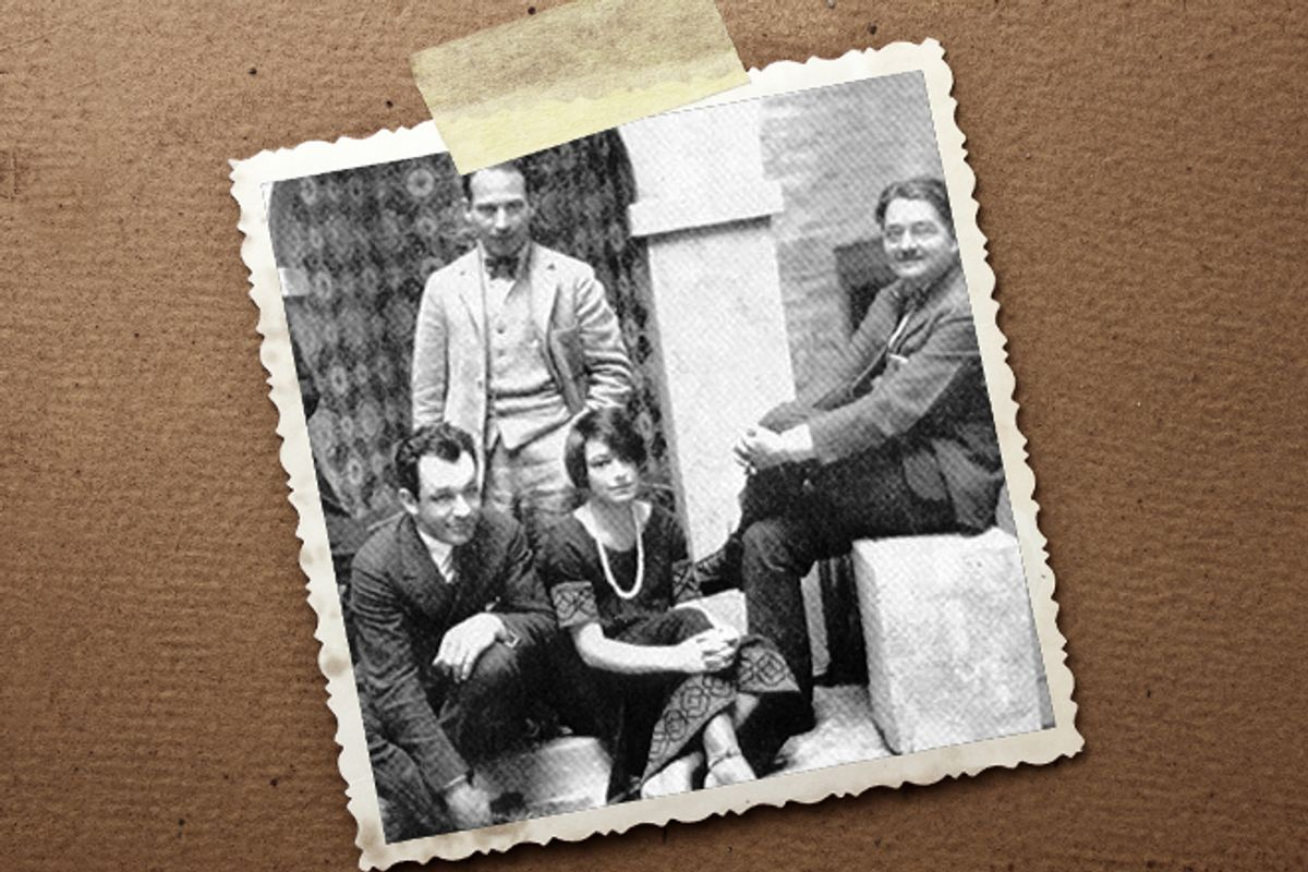 """From left: Charlie MacArthur, Harpo Marx, Dorothy Parker and Alexander Woollcott     (WIkipedia/<a href='http://www.shutterstock.com/gallery-54776p1.html""""'>Vitaly Korovin</a> via <a href='http://www.shutterstock.com/'>Shutterstock</a>)"""