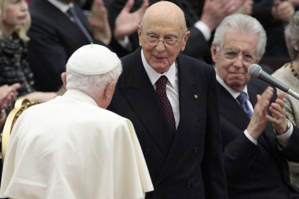 Pope Benedict XVI greets Italian President Giorgio Napolitano last month.            (AP/Gregorio Borgia)