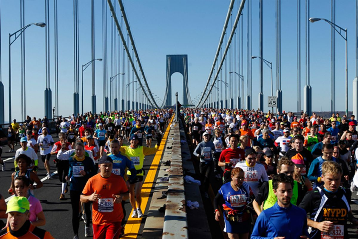 Runners cross the Verrazano-Narrows Bridge after the start of the New York City Marathon.   (Reuters/Brendan McDermid)
