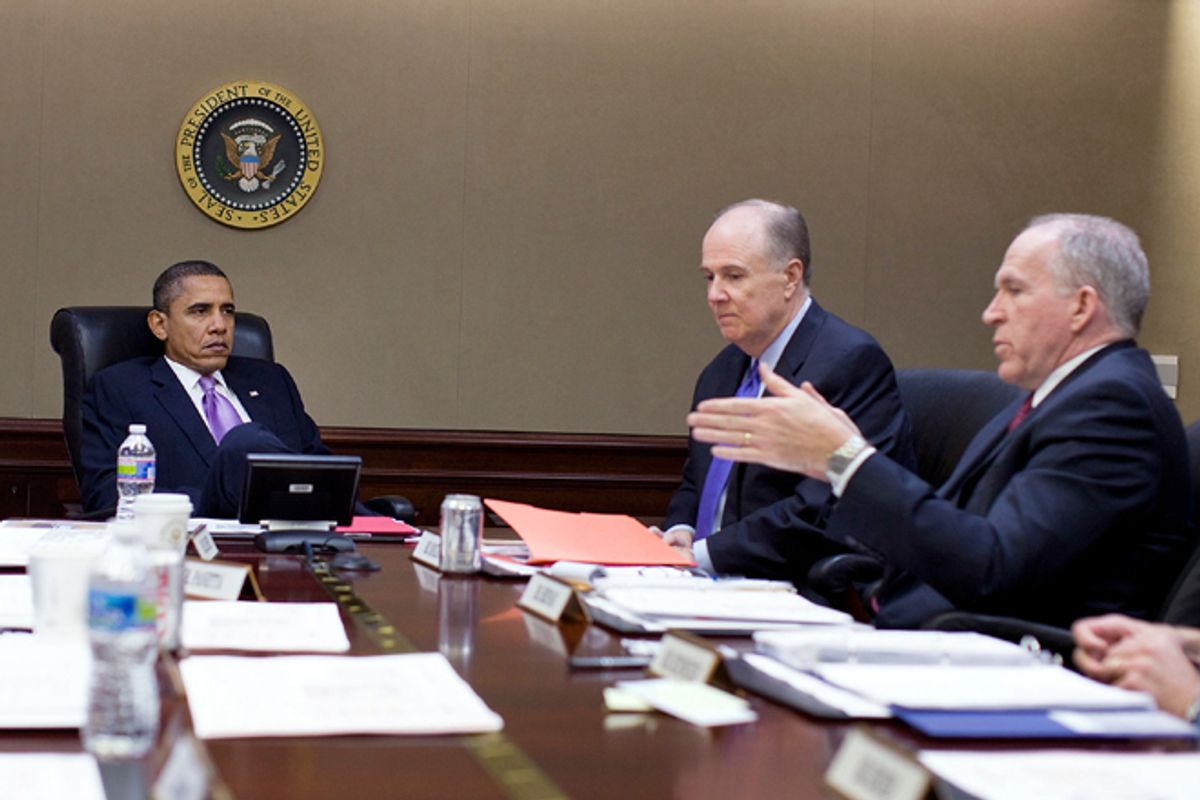 President Obama being briefed by members of his national security team in the Situation Room      (AP/The White House)