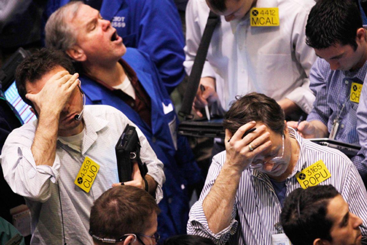 Traders on the floor of the New York Mercantile Exchange.         (Reuters/Brendan McDermid)