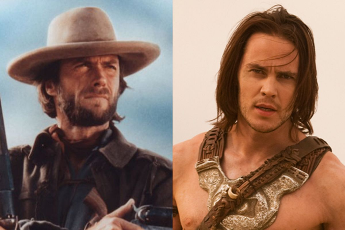 """Clint Eastwood in """"The Outlaw Josey Wales"""" and Taylor Kitsch in """"John Carter"""""""