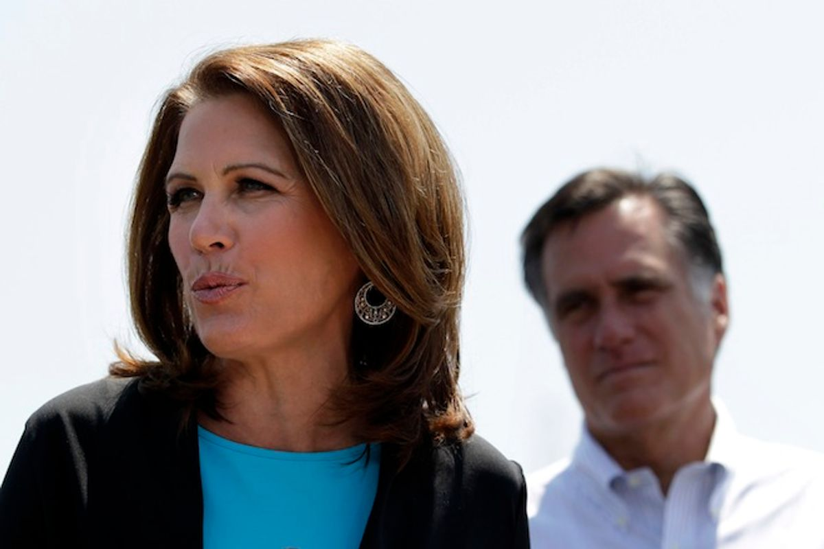 Rep. Michele Bachmann introduces Mitt Romney at a campaign stop in Portsmouth, Va., May 3, 2012.                (AP/Jae C. Hong)