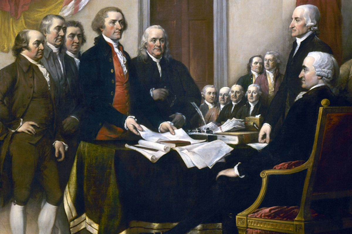"""A detail from John Trumball's """"Declaration of Independence"""""""