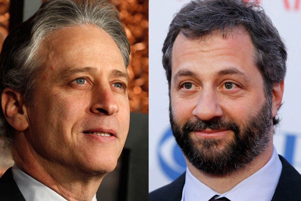 Jon Stewart and Judd Apatow     (Reuters)