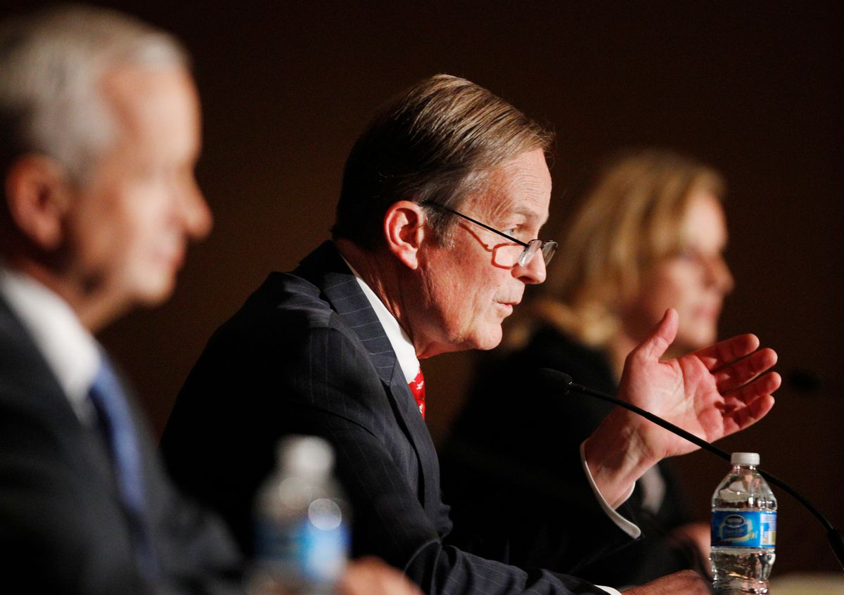 Senate candidate Rep. Todd Akin, R-Missouri, speaks during a forum at a Republican conference in Kansas City, Mo., Saturday, Feb. 18, 2012. (AP Photo/Orlin Wagner)                       (Associated Press)
