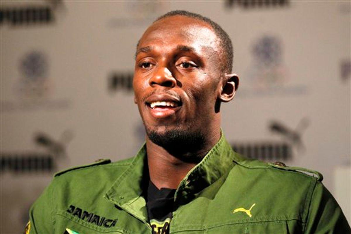 Jamaica's sprinter Usain Bolt talks to Associated Press in London. (AP/Sang Tan)