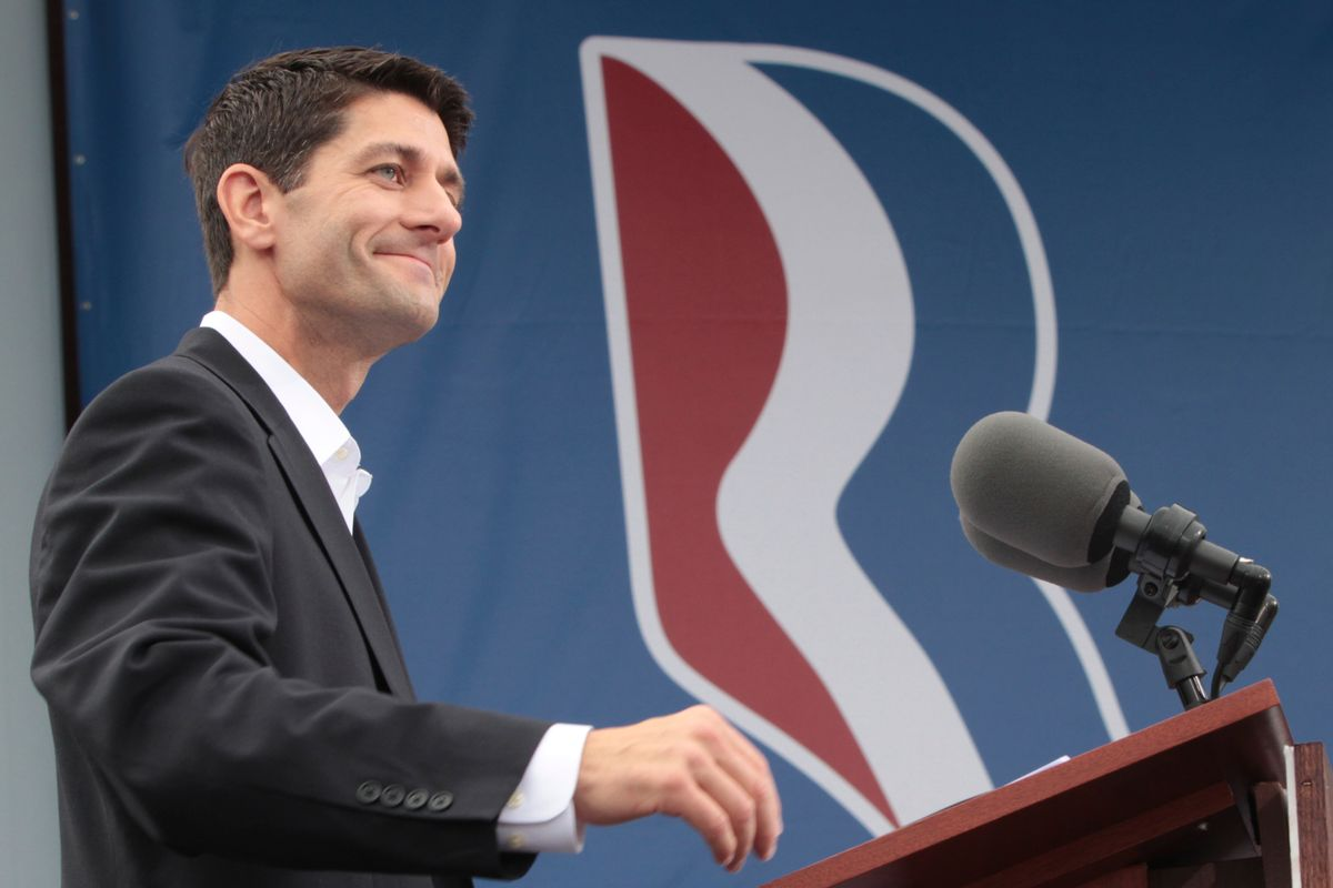 Newly announced Republican vice presidential candidate, Rep. Paul Ryan of Wisconsin, addresses the crowd Saturday                (AP/Mary Altaffer)