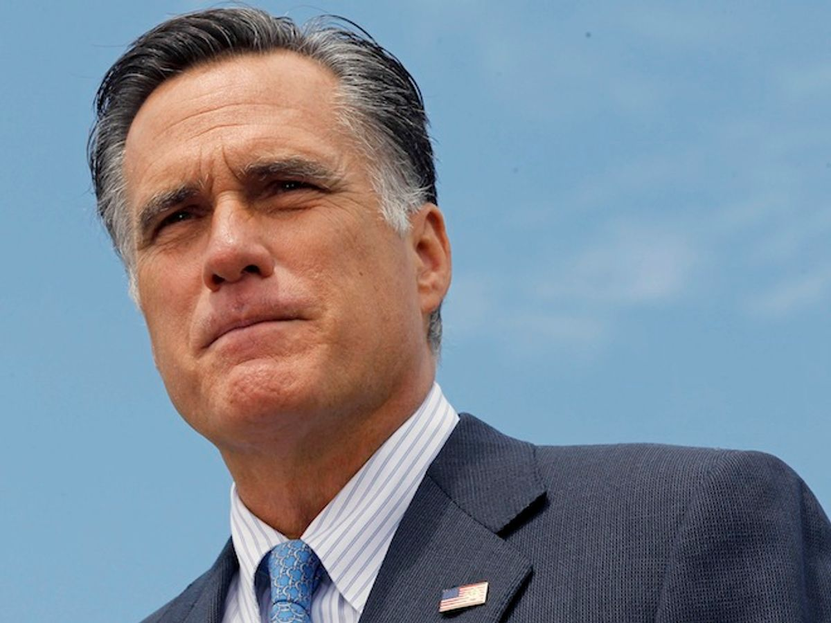 Republican presidential candidate, former Massachusetts Gov. Mitt Romney, speaks at a campaign event in Bow, N.H., Friday, July 20, 2012.              (AP/Charles Dharapak)