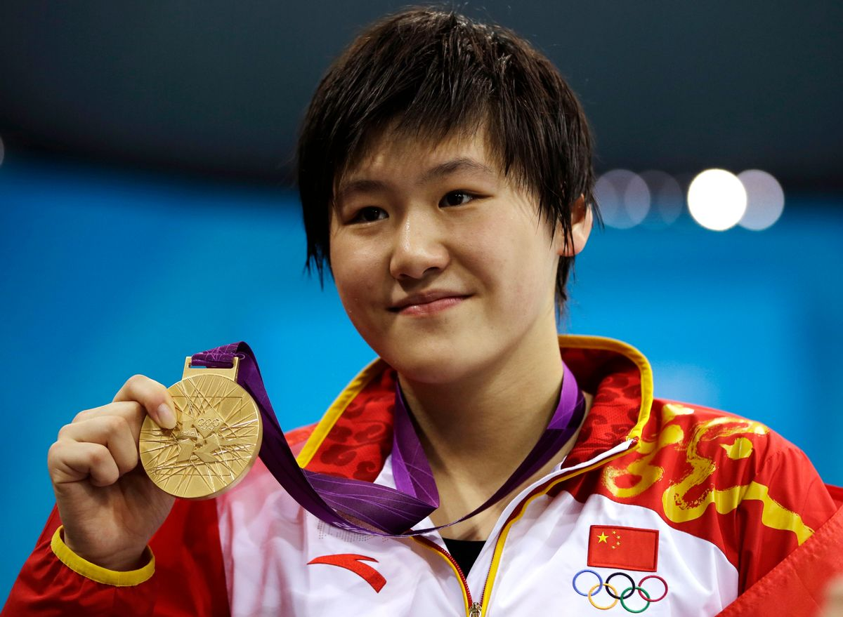 Chinese reacted angrily to doping accusations swirling around their newest swimming superstar Ye who won two gold medals at the London Olympics.       (AP/Matt Slocum)