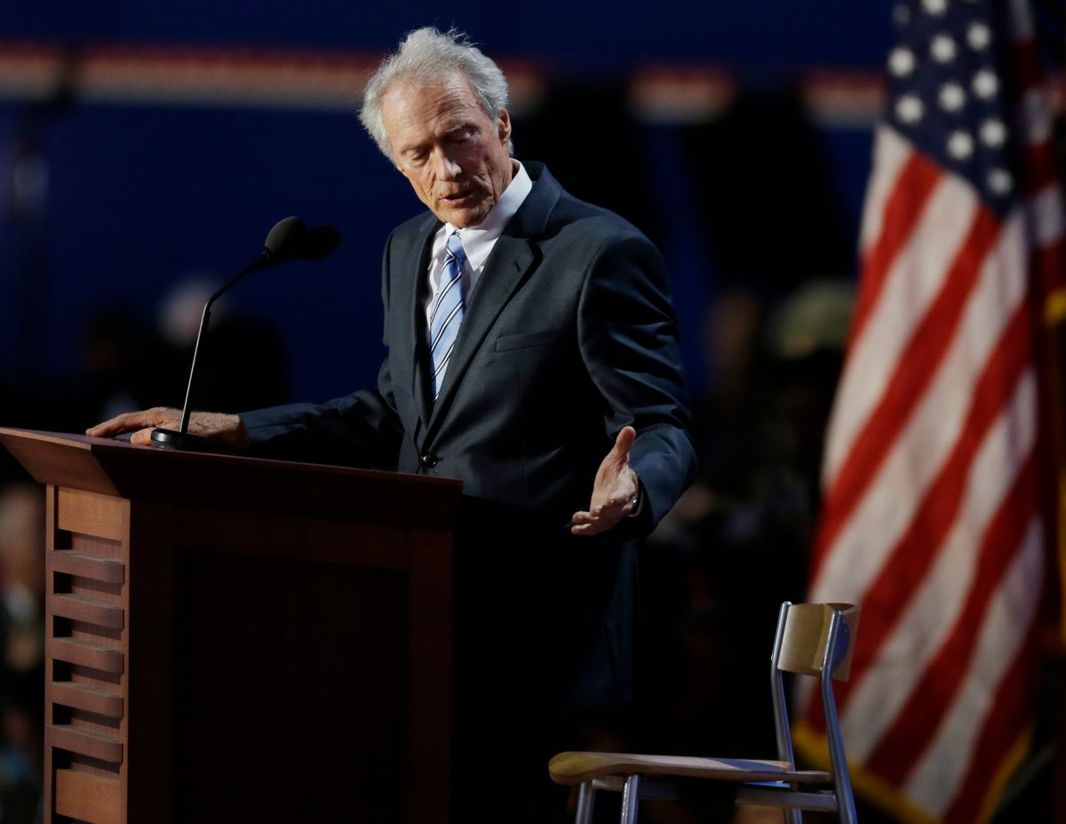 Actor Clint Eastwood speaks to an empty chair while addressed delegates during the Republican National Convention in Tampa, Fla., on Thursday, Aug. 30, 2012. (AP Photo/Lynne Sladky)   (Lynne Sladky)