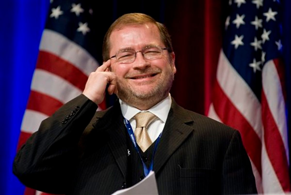 Americans for Tax Reform President Grover Norquist jokes around as he is introduced.  (AP Photo/Cliff Owen, File)                      (Associated Press)