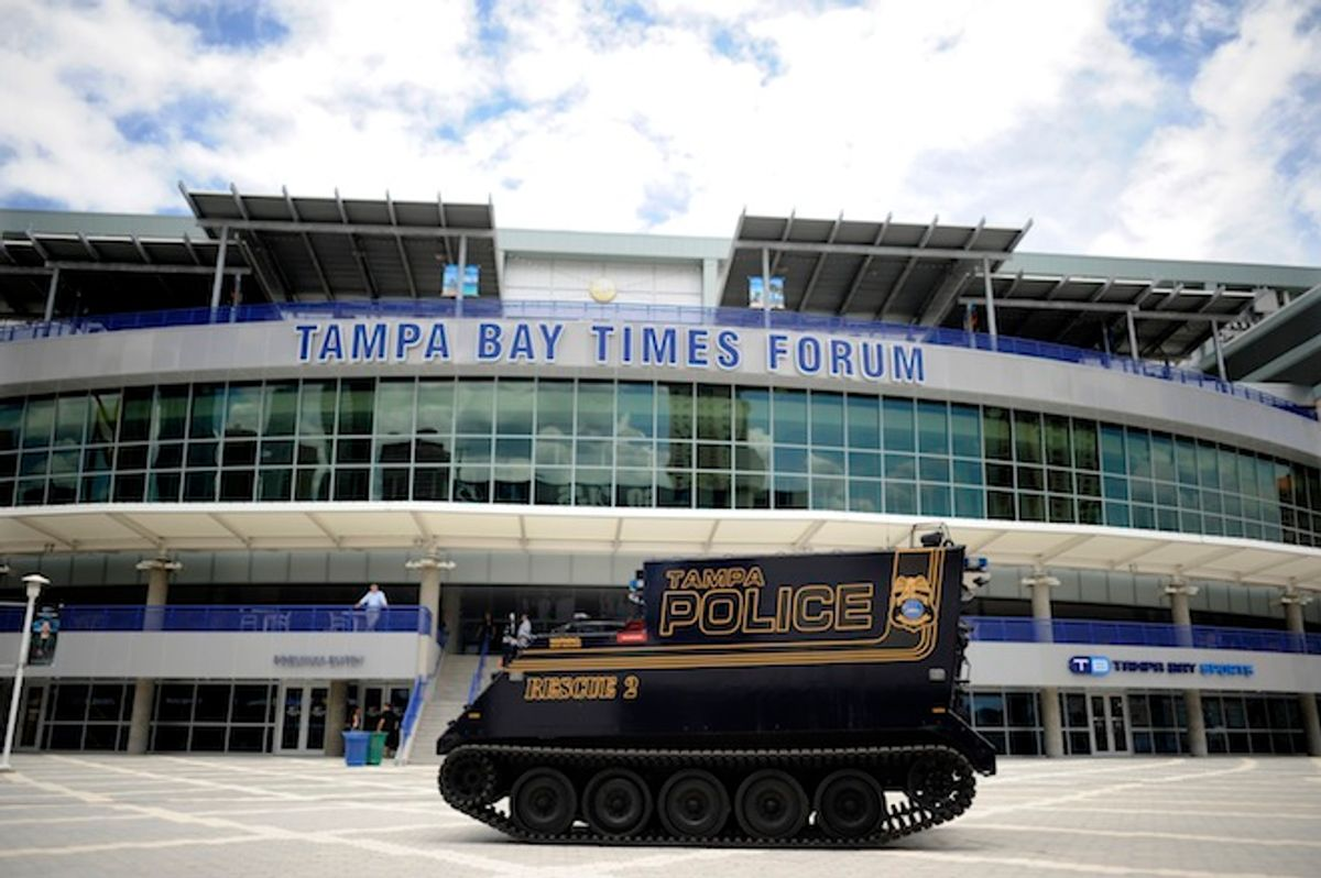 A Tampa police armored vehicle is parked outside The Tampa Bay Times Forum in downtown Tampa, Florida August 3, 2012.  The Republican National Convention will be held at the Forum from August 27 to August 30, 2012.    (Reuters/Brian Blanco)
