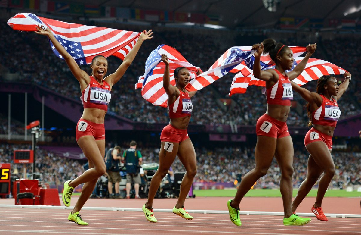 Allyson Felix (L-R), Carmelita Jeter, Tianna Madison and Bianca Knight of the U.S. celebrate after winning gold in the women's 4x100m relay. (Reuters/Dylan Martinez)