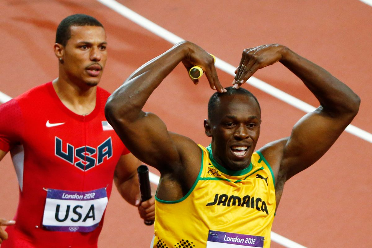 Jamaica's Usain Bolt celebrates after he won gold ahead of Ryan Bailey of the U.S. in the men's 4x100m relay final at the London 2012 Olympic Games at the Olympic Stadium August 11, 2012. The Jamaican team set a new world record of 36.84 seconds. REUTERS/David Gray (BRITAIN  - Tags: OLYMPICS SPORT ATHLETICS)       (Reuters/David Gray)