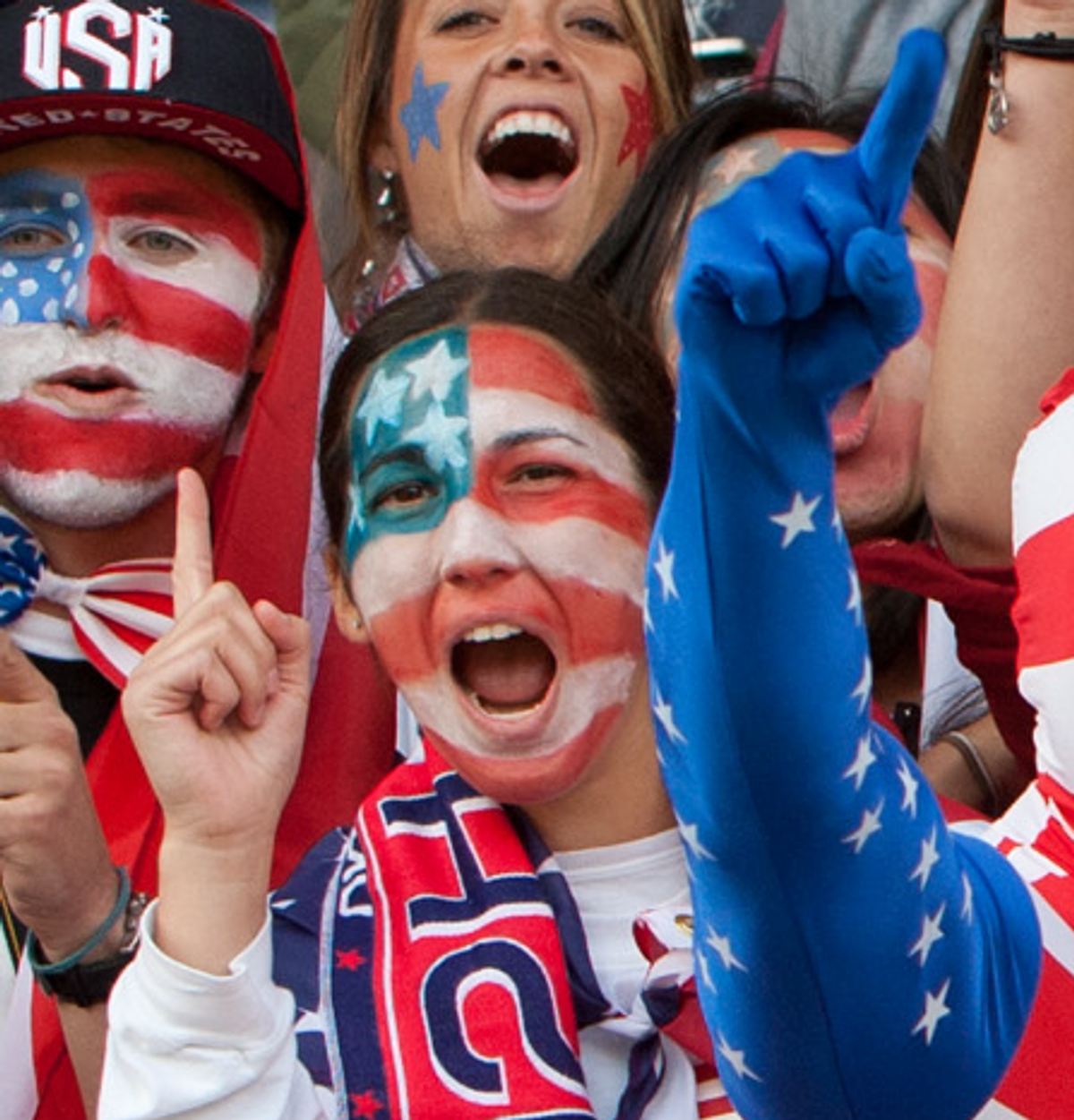 U.S. supporters cheer during the group G women's soccer match between the United States and Colombia.   (AP)