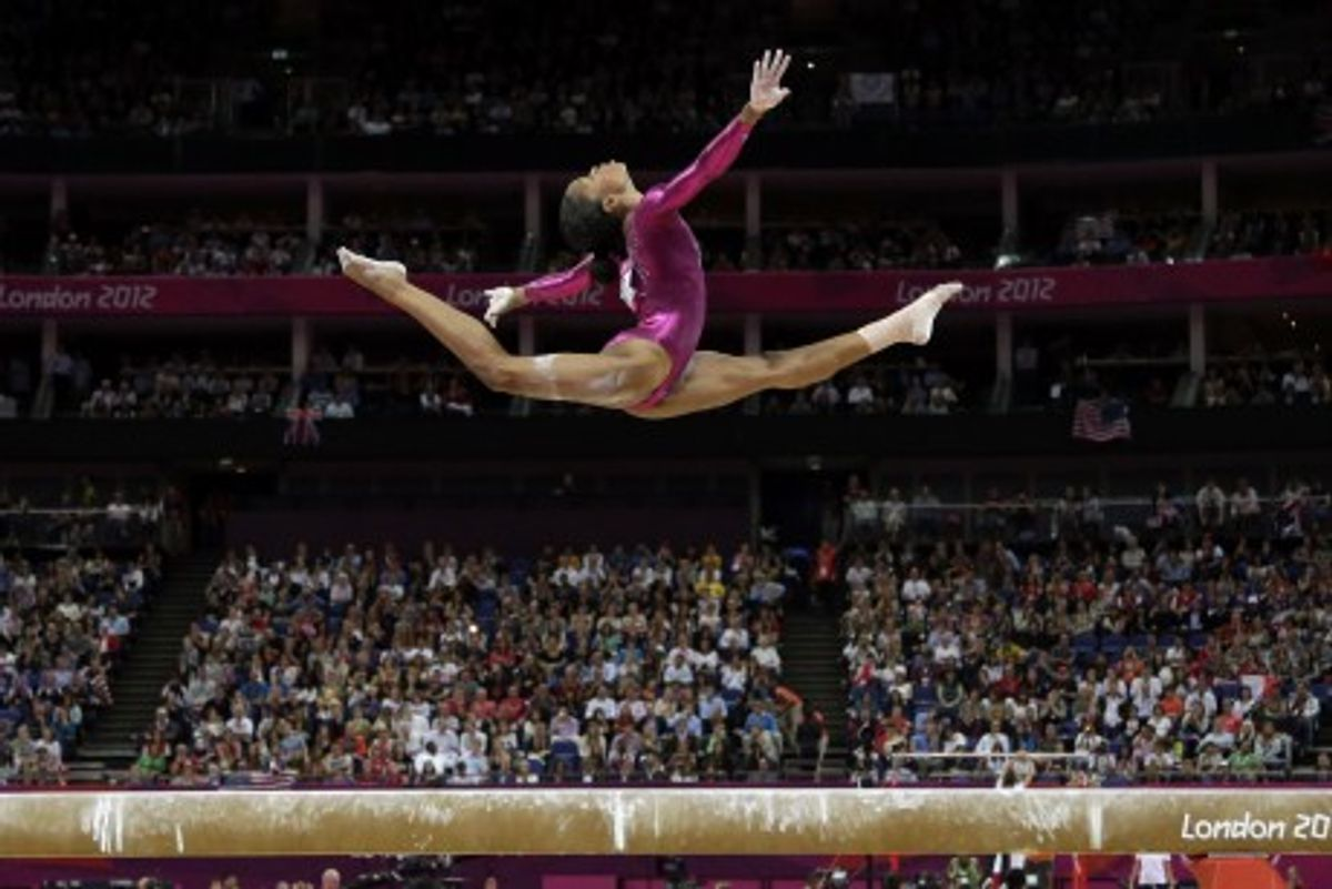 U.S. gymnast Gabrielle Douglas during the artistic gymnastics women's individual all-around competition at the 2012 Summer Olympics, Thursday, Aug. 2, 2012, in London. (AP Photo/Gregory Bull)      (Gregory Bull)