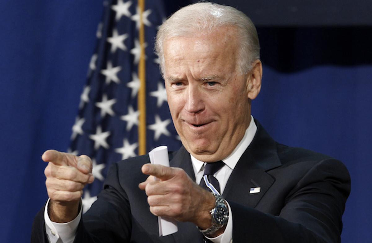 Vice President Joe Biden gestures as he talks about college spending, Tuesday, April 3, 2012, at Maury High School in Norfolk, Va. (AP Photo/Steve Helber)