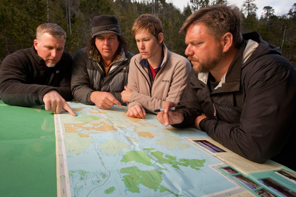 "Cliff Barackman, James ""Bobo"" Fay, Ranae Holland and Matt Moneymaker  in ""Finding Bigfoot"""