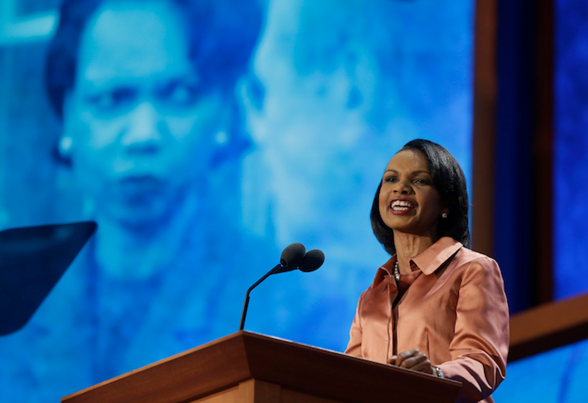 Former Secretary of State Condoleezza Rice addresses the Republican National Convention in Tampa, Fla., on Wednesday, Aug. 29, 2012.        (AP Photo/Charles Dharapak)