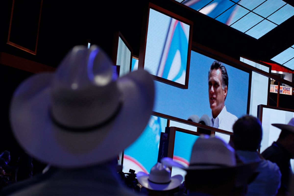 Texas delegates on the floor of the Republican National Convention in Tampa.         (Reuters/Shannon Stapleton)