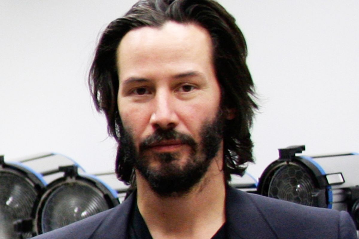 """Keanu Reeves on the set of """"Side by SIde"""""""