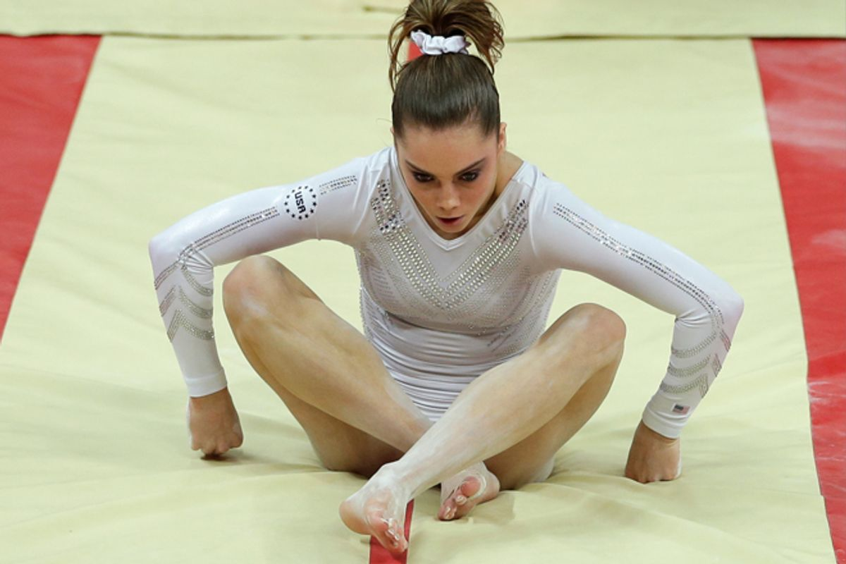 U.S. gymnast McKayla Maroney botches her landing during the artistic gymnastics women's vault final at the 2012 Summer Olympics on Sunday.         (AP/Gregory Bull)