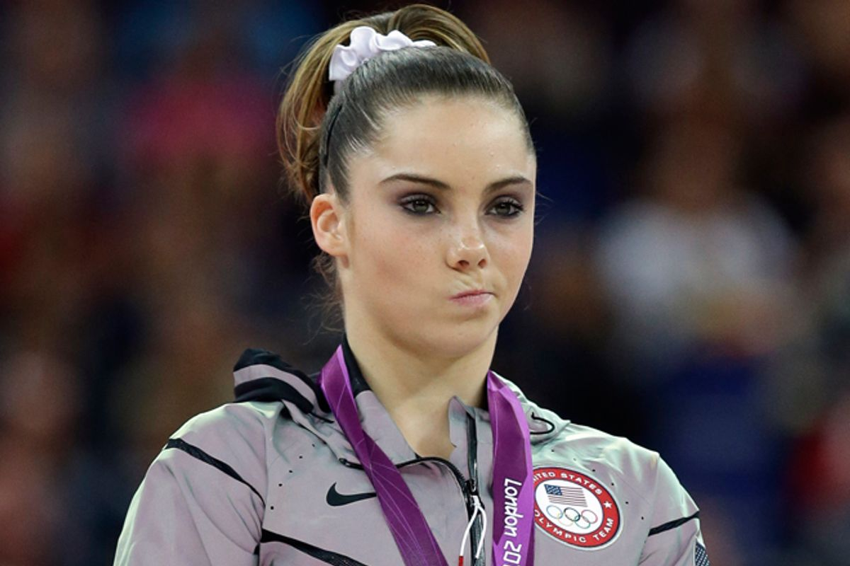 McKayla Maroney during the podium ceremony for the artistic gymnastics women's vault finals at the 2012 Summer Olympics on Sunday, Aug. 5.        (AP/Julie Jacobson)