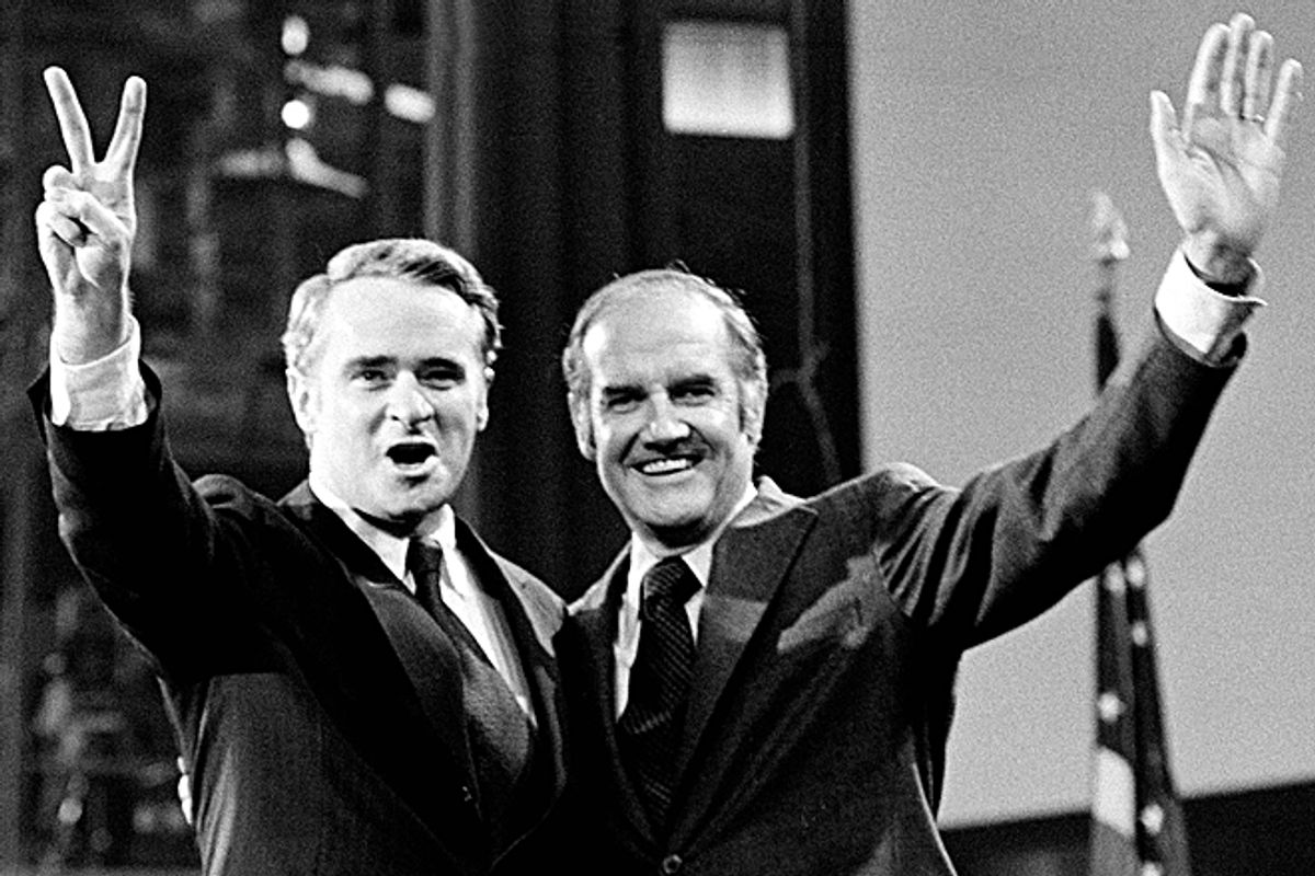 Then- U.S. Sen. Thomas F. Eagleton, left, and then-Sen. George S. McGovern, the presidential candidate, stand before the Democratic National Convention.   (AP)