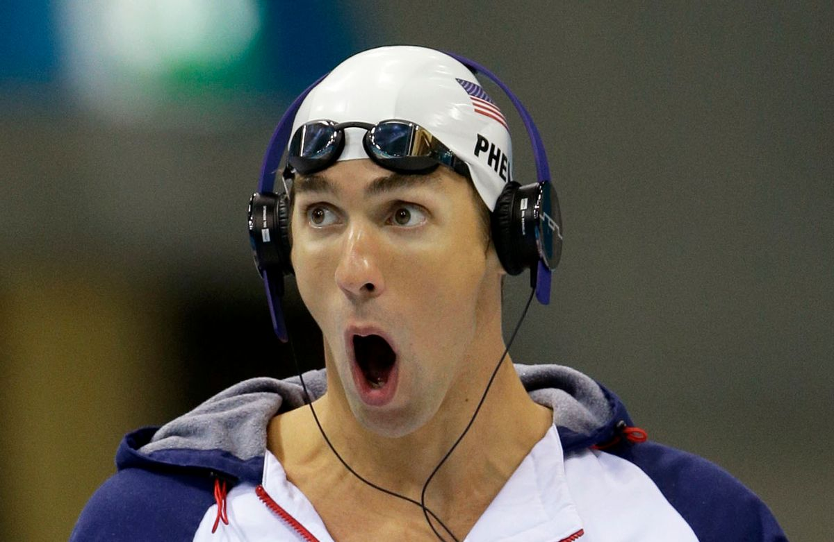 United States' Michael Phelps prepares to compete in a men's 100-meter butterfly swimming heat     (AP/Matt Slocum)