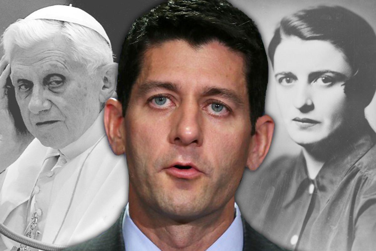 Pope Benedict XVI, Paul Ryan and Ayn Rand                 (AP/Salon)