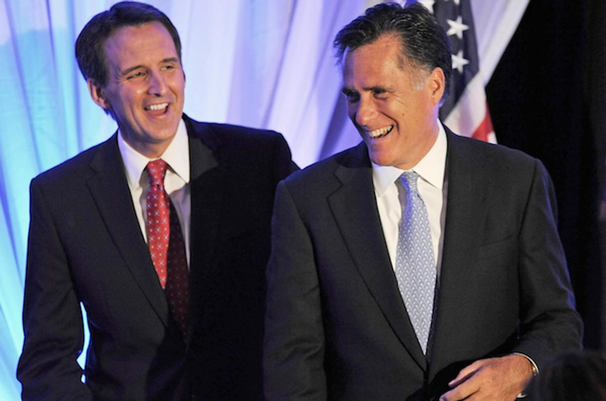 Tim Pawlenty and Mitt Romney         (AP/Craig Lassig)