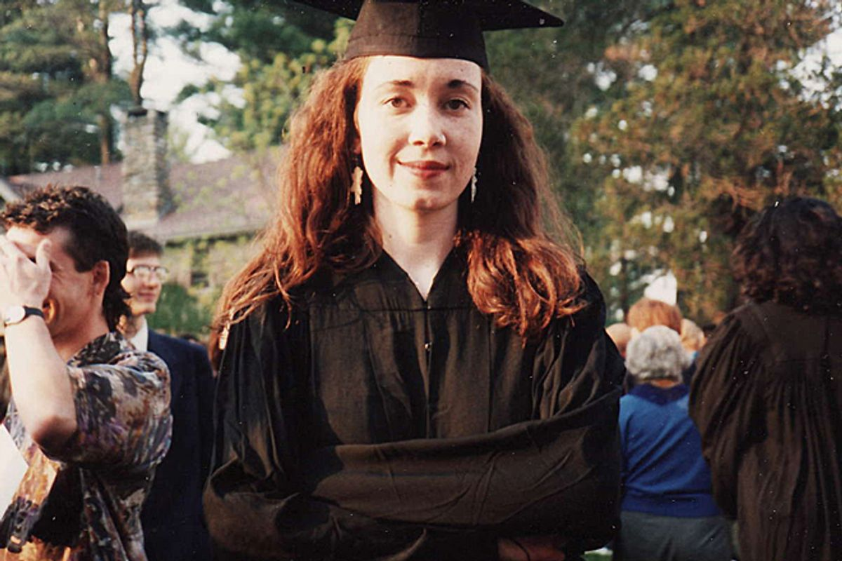 A photo of the author at her college graduation.