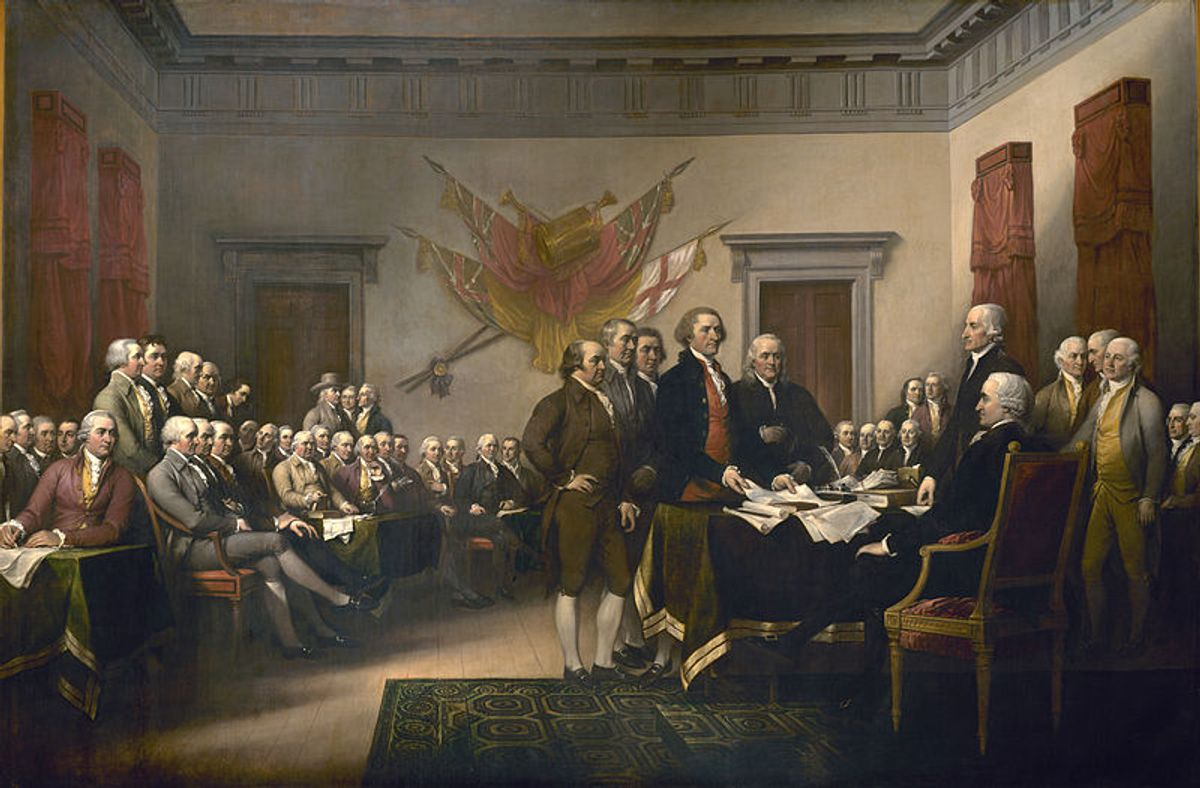 """John Trumbull's """"Declaration of Independence."""" According to a study, income inequality is greater now than it was when the Declaration was signed (Wikimedia)"""