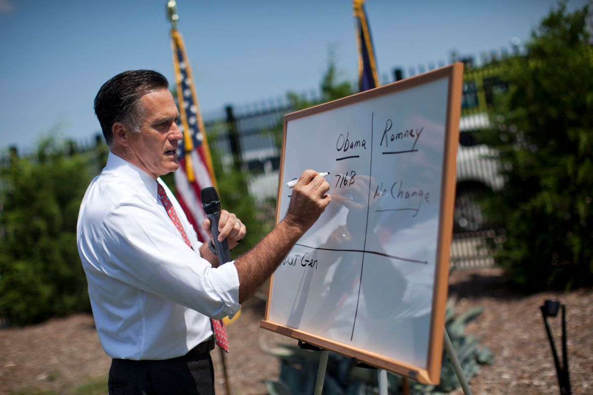 Mitt Romney writes on a white board as he talks about Medicare during a news conference in Greer, S.C., in August.    (AP Photo/Evan Vucci)