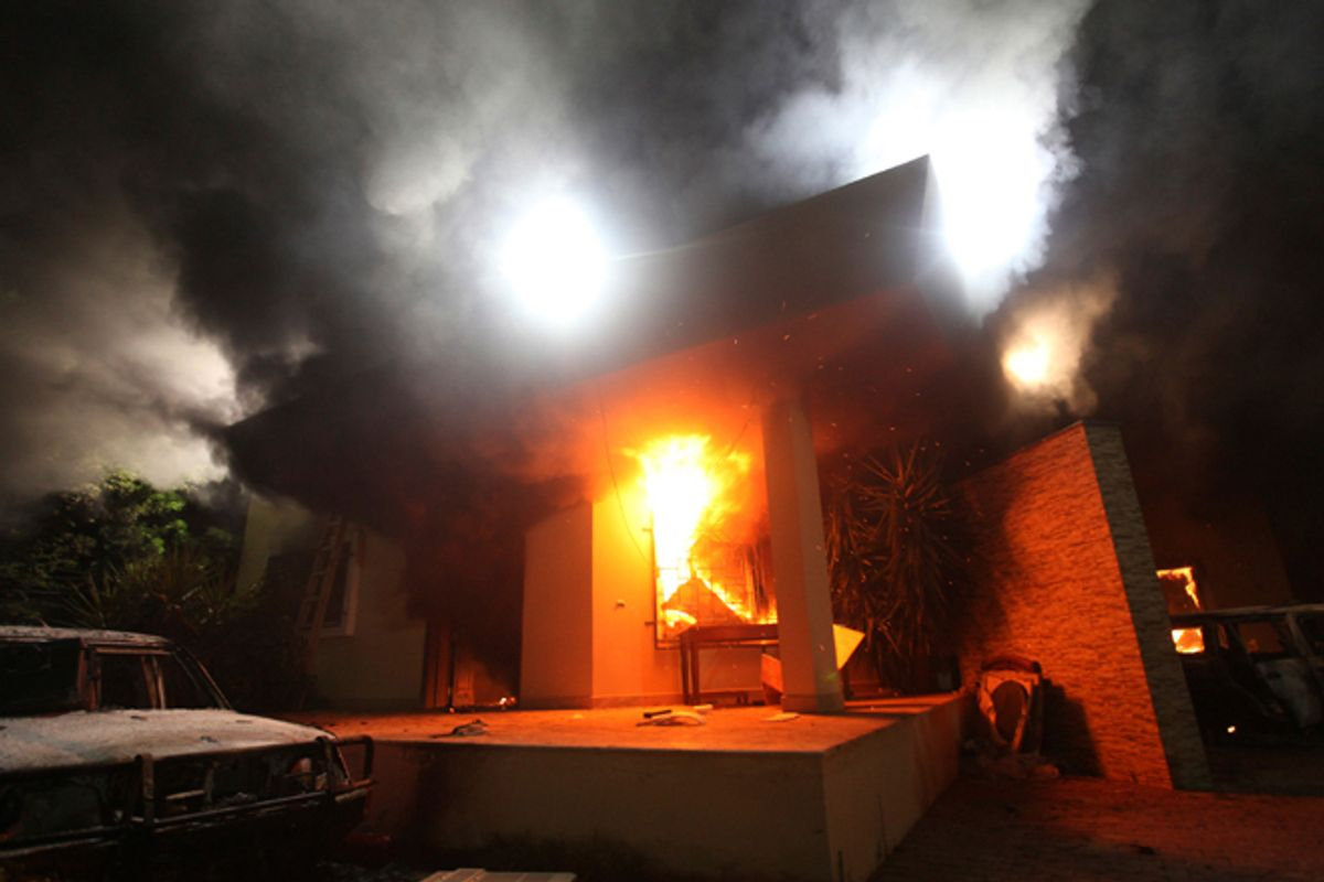 The U.S. Consulate in Benghazi is seen in flames during a protest by an armed group said to have been protesting a film being produced in the United States September 11, 2012.         (Reuters/Esam Al-fetori)