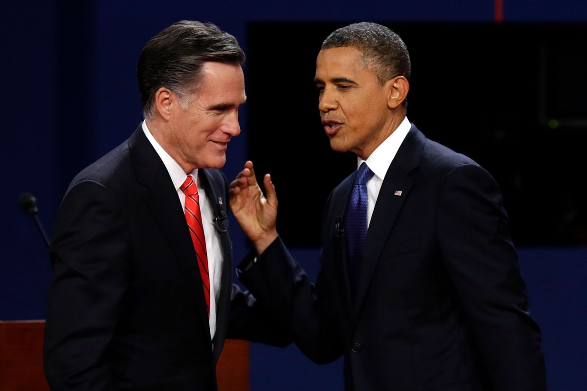Republican presidential nominee Mitt Romney and President Barack Obama  talk after the first presidential debate.                   (AP/Charlie Neibergall)