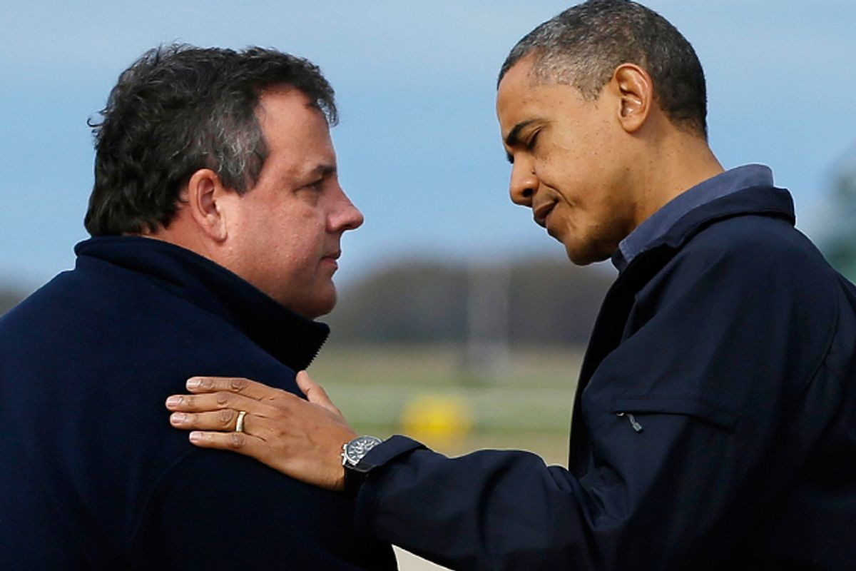 President Obama is greeted by New Jersey Gov. Chris Christie upon his arrival in Atlantic City on Wednesday.         (AP/Pablo Martinez Monsivais)