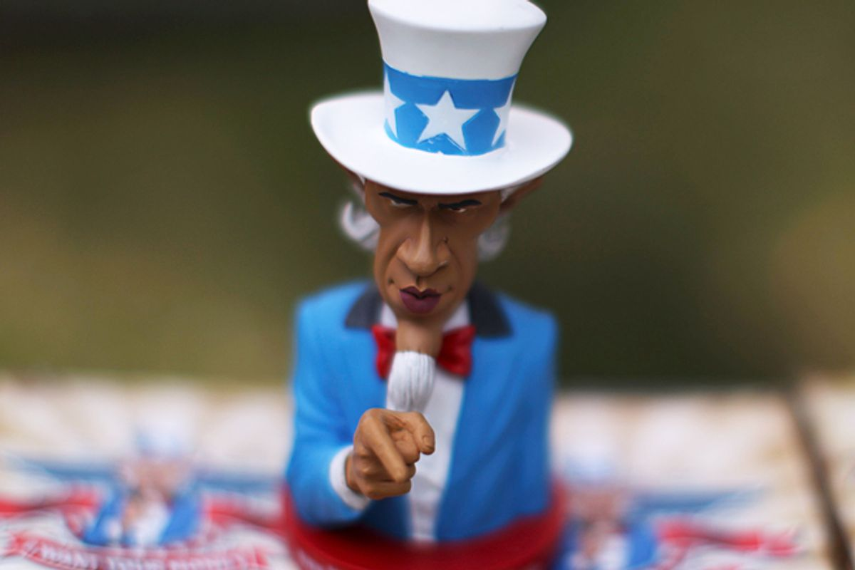 A Barack Obama doll for sale at a Tea Party rally in Cedar Rapids, Iowa.     (Reuters/Jim Young)